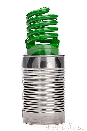 Green compact fluorescent bulb in a tin can