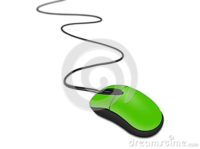 Green computer mouse with cable