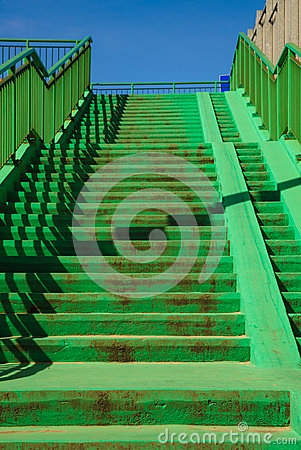 Free Green Concrete Stairs Stairway With Railing. Stock Images - 54737724