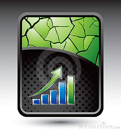 Green cracked backdrop with business bar graph