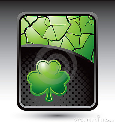 Green cracked background with shamrock