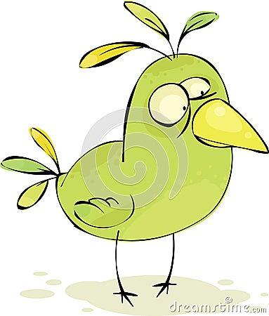 Green crazy bird