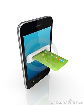 Green credit card and modern mobile phone.