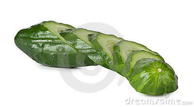 Green cucumber cut into slices