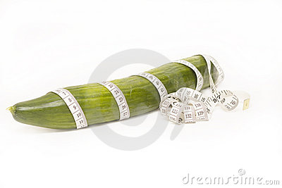 Green Cucumber with measuring tape
