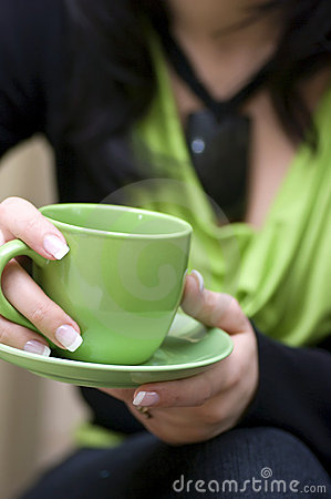Free Green Cup Of Coffee Royalty Free Stock Images - 4883769