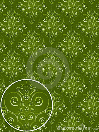 Green Damask Style Pattern