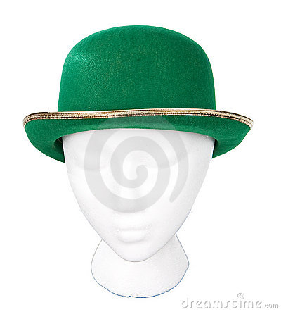 Green derby hat with clipping path