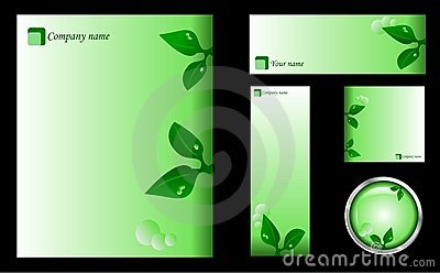 Green Design Template, Card, Icon and Button Set