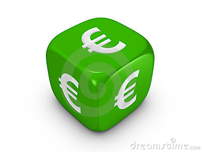 Green dice with euro sign