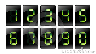 Green digital number icons