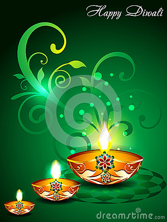 Green Diwali Background with floral