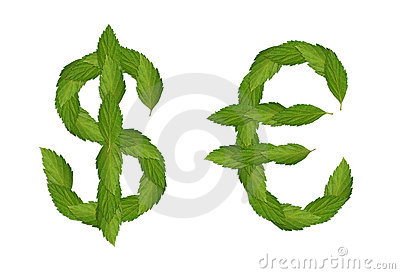 Green dollar and euro