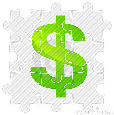 Green dollar on puzzle