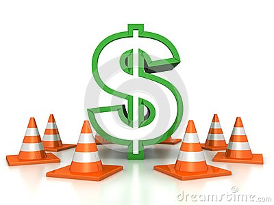 Green dollar sign protected by road traffic cones