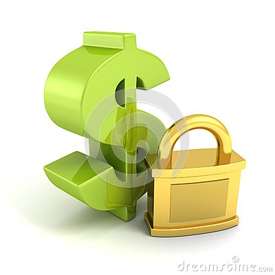 Green dollar symbol with golden padlock. money safety concept