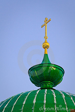 Green dome and gold cross