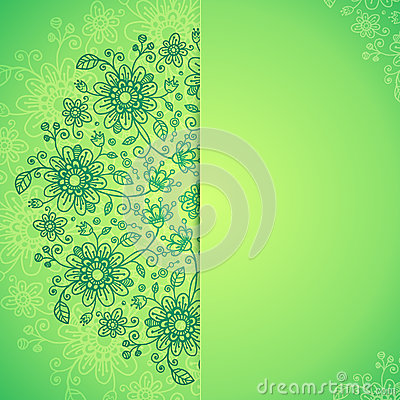 Green  doodle flowers background