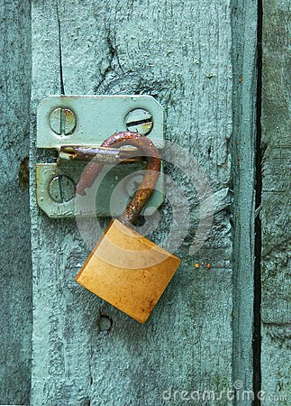 Green door brass lock