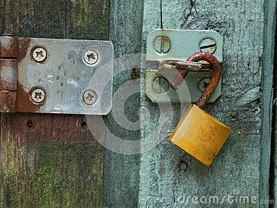 Green door brass lock steel hasp