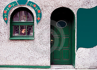 Green door and window