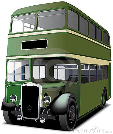 Green double decker bus