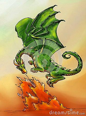Green dragon breathing fire