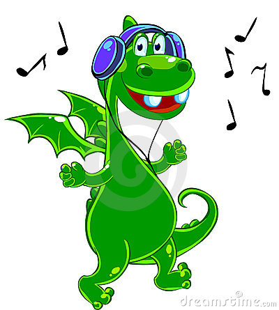 Green Dragon is listening to music
