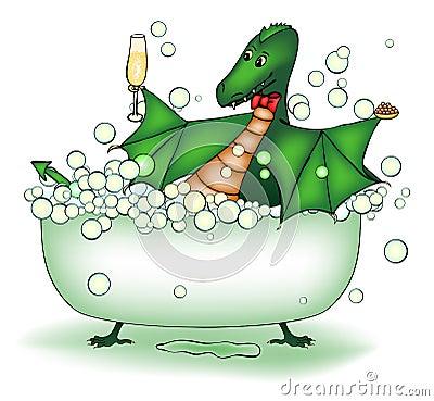 Green dragon relax in bath