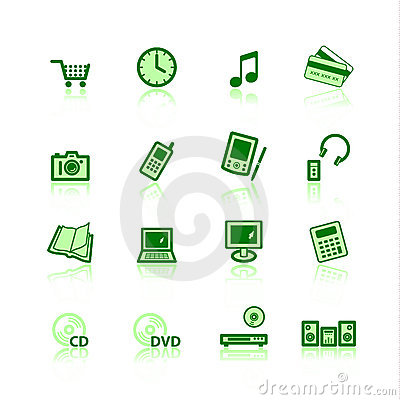 Green e-commerce icons