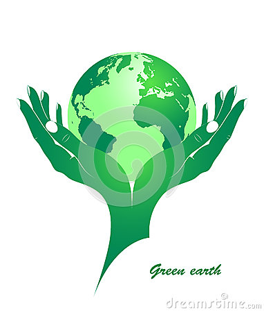 Green earth in female hands.
