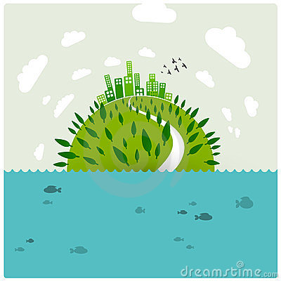 Green earth in the ocean