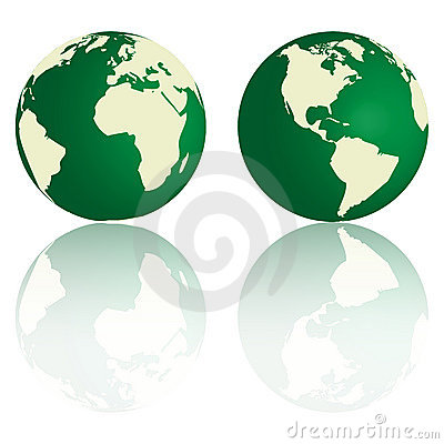 Green Earth with reflection