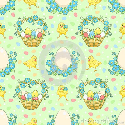 Green Easter background with chickens