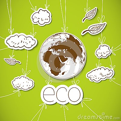 Green eco background with Earth