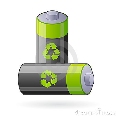 Free Green Eco Batteries Isolated Royalty Free Stock Photos - 14152628