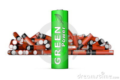 Green Eco Battery in Front