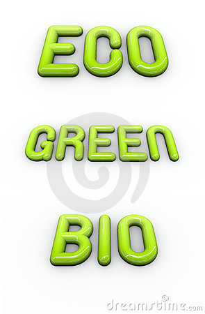 Green , eco and bio in 3d glossy bubble fonts