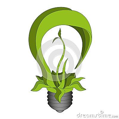 Green eco bulb. Vector eps10