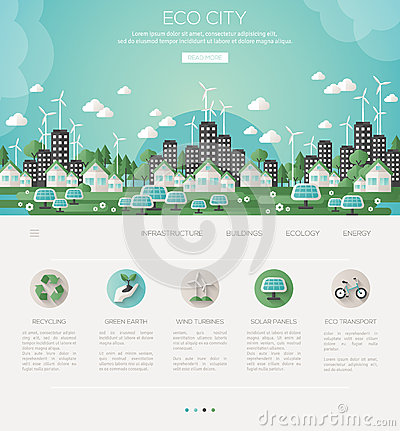 Green eco city and sustainable architecture Vector Illustration