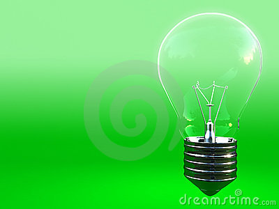 Green eco classic light bulb with space for write