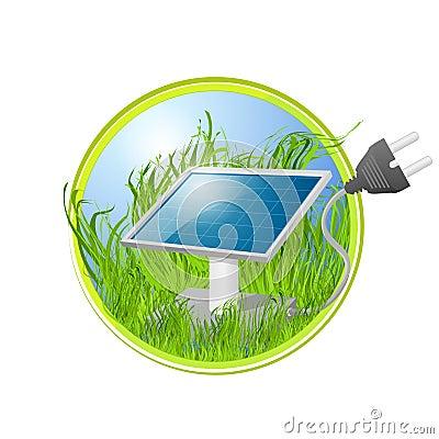 Eco logo of solar panel