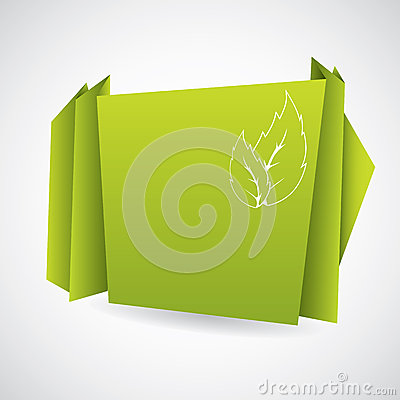 Green eco origami paper