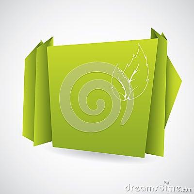 Green eco origami paper