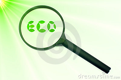 Green eco sign magnifying concentrate or focus