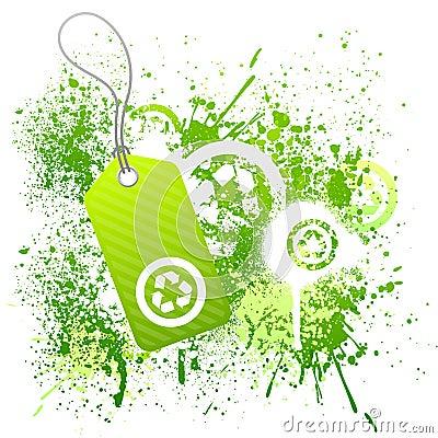 Green eco tag grunge