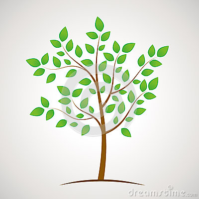 Green eco tree icon with plenty leaves, Stock Photo