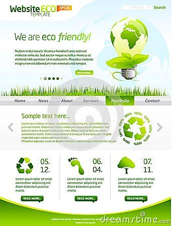 Green eco vector website template with lighbulb