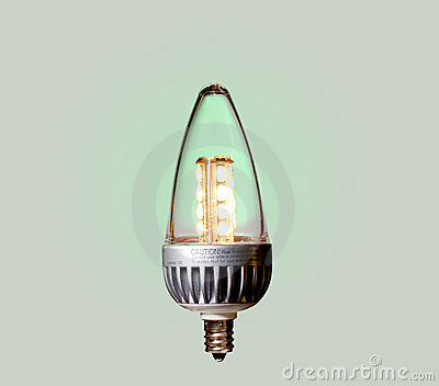 Green ecological LED bulb with path