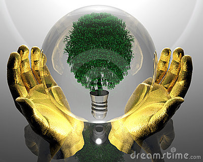 Green ecological tree in glass orb